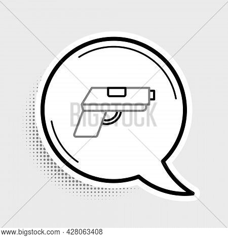 Line Pistol Or Gun Icon Isolated On Grey Background. Police Or Military Handgun. Small Firearm. Colo