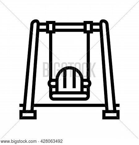 Swing Kindergarten Line Icon Vector. Swing Kindergarten Sign. Isolated Contour Symbol Black Illustra
