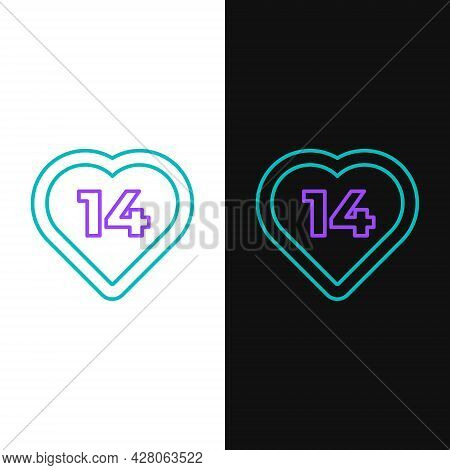 Line Heart Icon Isolated On White And Black Background. Romantic Symbol Linked, Join, Passion And We