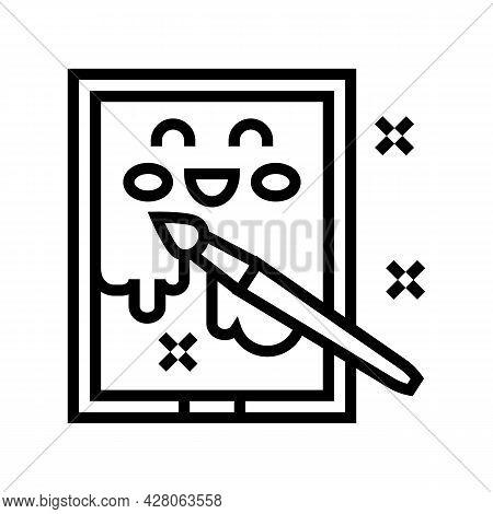 Painting Picture Kindergarten Line Icon Vector. Painting Picture Kindergarten Sign. Isolated Contour