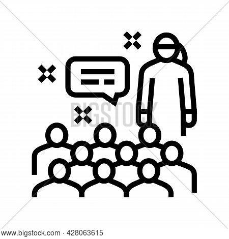 Parent-teacher Meeting Kindergarten Line Icon Vector. Parent-teacher Meeting Kindergarten Sign. Isol