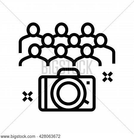 Collective Photography Kindergarten Line Icon Vector. Collective Photography Kindergarten Sign. Isol