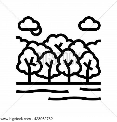 Deciduous Forests Line Icon Vector. Deciduous Forests Sign. Isolated Contour Symbol Black Illustrati