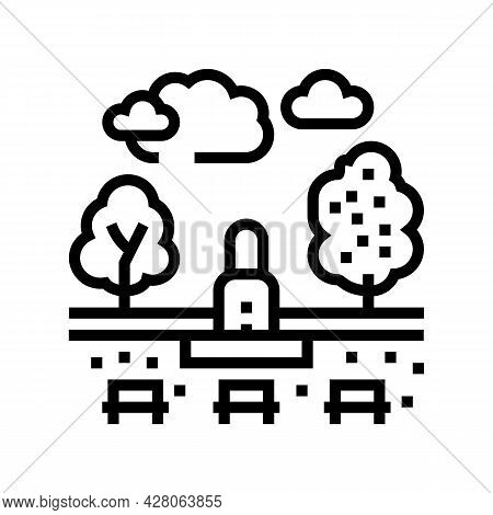 City Park Land Line Icon Vector. City Park Land Sign. Isolated Contour Symbol Black Illustration