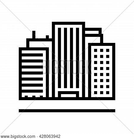 Land Of High Rise Buildings Line Icon Vector. Land Of High Rise Buildings Sign. Isolated Contour Sym