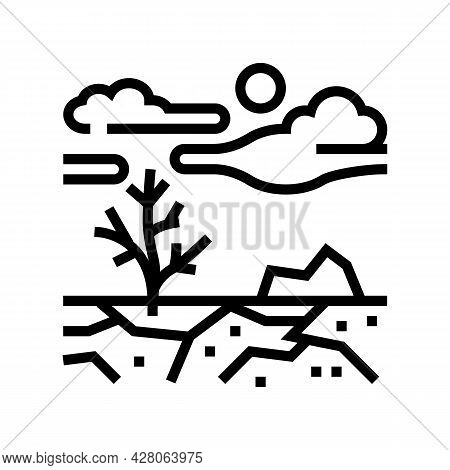 Barren Land Line Icon Vector. Barren Land Sign. Isolated Contour Symbol Black Illustration