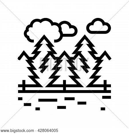 Coniferous Forests Line Icon Vector. Coniferous Forests Sign. Isolated Contour Symbol Black Illustra