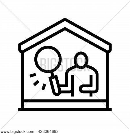 Property Inspection Line Icon Vector. Property Inspection Sign. Isolated Contour Symbol Black Illust