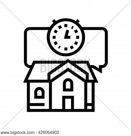Short Term Rent Line Icon Vector. Short Term Rent Sign. Isolated Contour Symbol Black Illustration