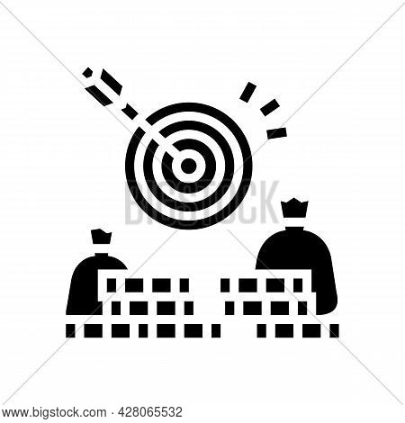 Money Earning Target Glyph Icon Vector. Money Earning Target Sign. Isolated Contour Symbol Black Ill