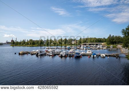 View Of The Harbor And Sports Marina In The City Center Of Oulu On The Baltic Sea