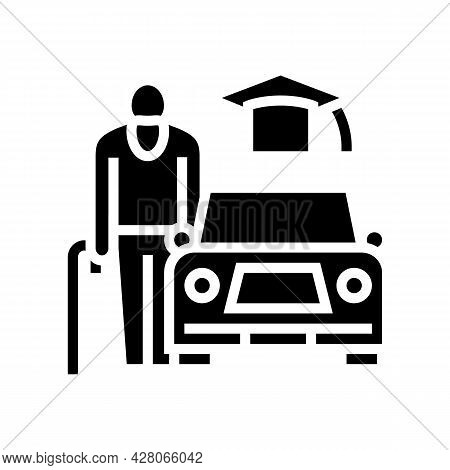 Driving Lessons For Seniors Glyph Icon Vector. Driving Lessons For Seniors Sign. Isolated Contour Sy