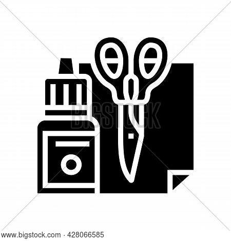 Handmade Tools Kindergarten Glyph Icon Vector. Handmade Tools Kindergarten Sign. Isolated Contour Sy