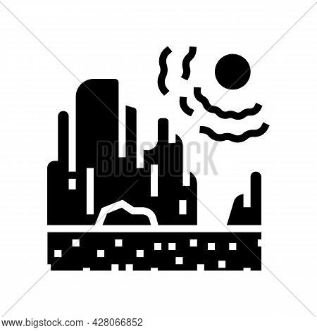 Drought Land Glyph Icon Vector. Drought Land Sign. Isolated Contour Symbol Black Illustration