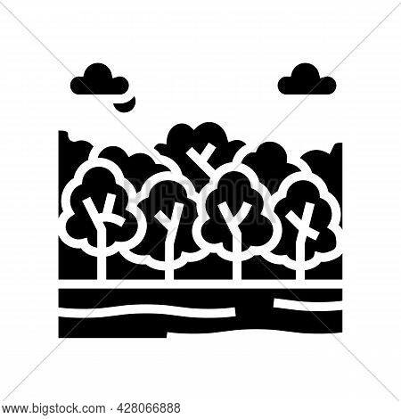 Deciduous Forests Glyph Icon Vector. Deciduous Forests Sign. Isolated Contour Symbol Black Illustrat