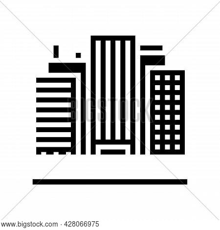 Land Of High Rise Buildings Glyph Icon Vector. Land Of High Rise Buildings Sign. Isolated Contour Sy