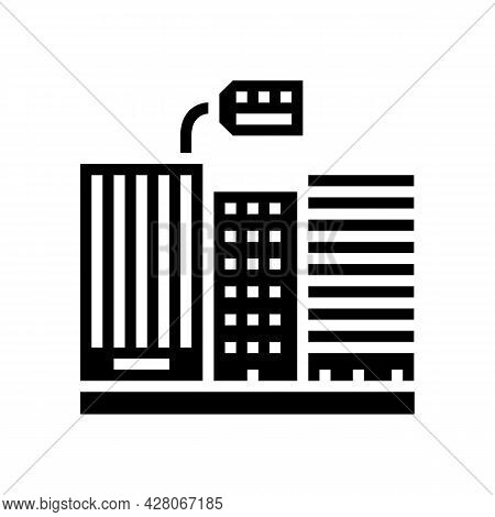 Rent In High Rise Building Glyph Icon Vector. Rent In High Rise Building Sign. Isolated Contour Symb