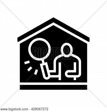 Property Inspection Glyph Icon Vector. Property Inspection Sign. Isolated Contour Symbol Black Illus