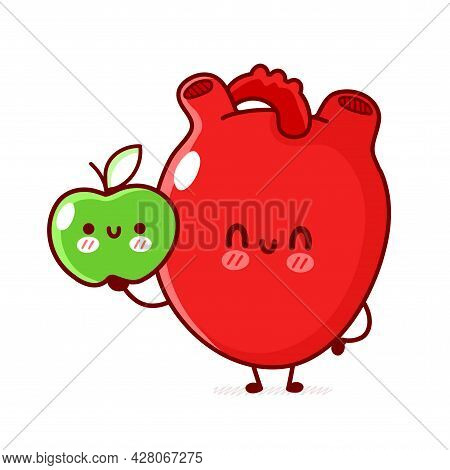 Cute Funny Human Heart Organ With Apple Fruit. Vector Flat Line Doodle Cartoon Kawaii Character Illu