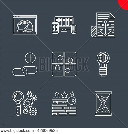 Seo Line Icons Set. Seo Related Vector Line Icons. Anchor Text, Campaign Timing, Keywords Ranking, A