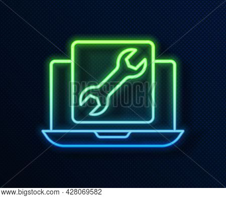 Glowing Neon Line Laptop With Wrench Icon Isolated On Blue Background. Adjusting, Service, Setting,