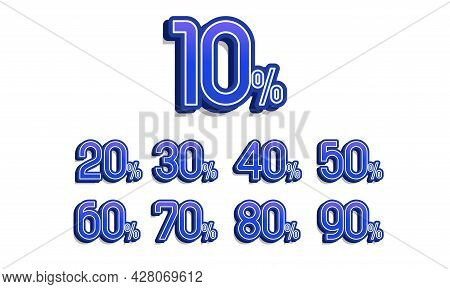 Sale And Discount Labels. Price Off Tag Icon Flat Design Collection Set. 10, 20, 30, 40, 50, 60, 70,