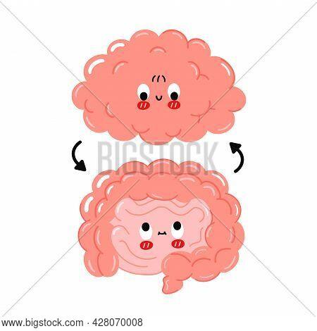 Cute Funny Happy Human Intestine And Brain Organs And Circle Arrows.vector Cartoon Kawaii Character