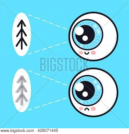 Cute Sad And Happy Human Eyeball Organ Look On Tree Character. Vector Doodle Cartoon Illustration Ic