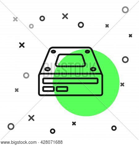 Black Line Optical Disc Drive Icon Isolated On White Background. Cd Dvd Laptop Tray Drive For Read A
