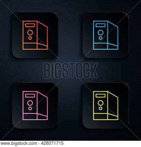 Color Neon Line Case Of Computer Icon Isolated On Black Background. Computer Server. Workstation. Se