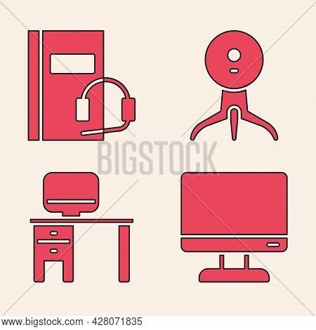 Set Computer Monitor Screen, Audio Book, Web Camera And Computer Monitor And Desk Icon. Vector