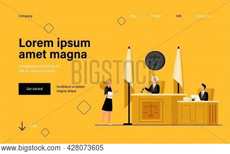 Female Attorney Standing In Front Of Judge And Talking Isolated Flat Vector Illustration. Cartoon Co