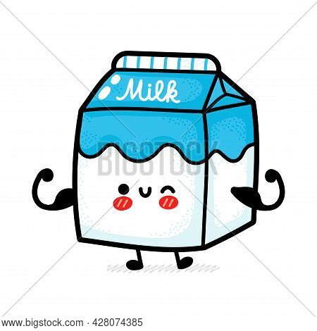 Cute Funny Strong Happy Milk Box Show Muscle. Vector Hand Drawn Cartoon Kawaii Character Illustratio