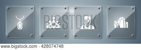 Set Gem Stone, Jeweler Man, King Crown And Pendant Necklace. Square Glass Panels. Vector
