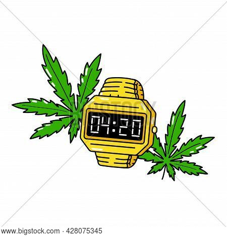 4:20 Time On Gold Electronic Watch And Weed Cannabis Leafs. Vector Cartoon Illustration Design. Isol