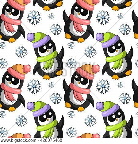 Seamless Vector Pattern With Cute Cartoon Penguin With Snowflake