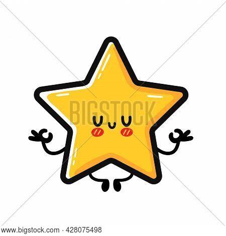 Cute Happy Star Sign Character Meditate In Yoga Pose. Vector Hand Drawn Cartoon Kawaii Character Ill