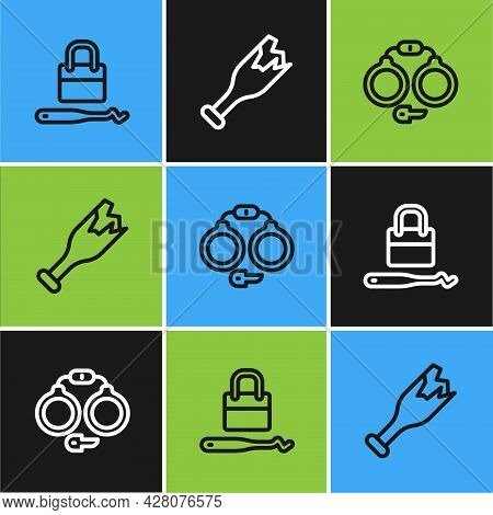 Set Line Lock Picks For Lock Picking, Handcuffs And Broken Bottle As Weapon Icon. Vector