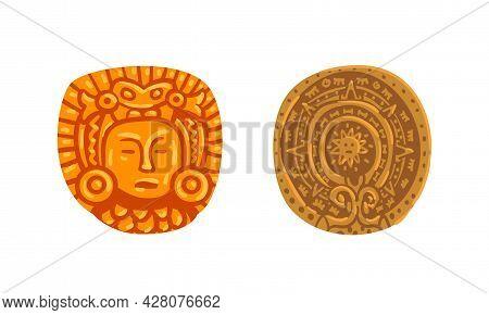 Maya Civilization Symbols Set, Mayan Calendars Cartoon Vector Illustration
