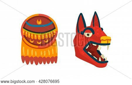 Maya Civilization Symbols Set, Totem Signs Cartoon Vector Illustration