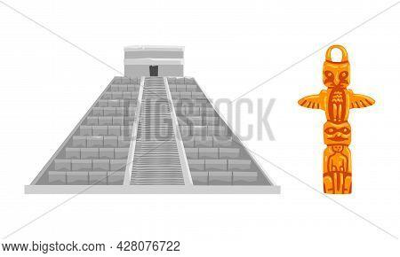 N Maya Civilization Symbols Set, Mayan Pyramid And Totem Pole Cartoon Vector Illustration
