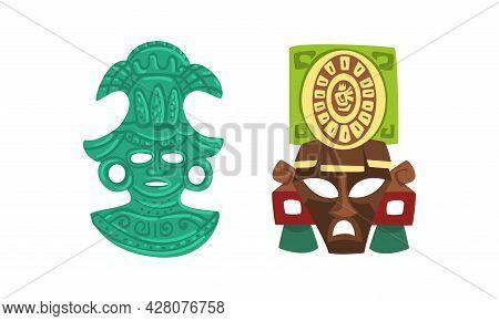 Maya Civilization Symbols Set, Tribal Masks Cartoon Vector Illustration