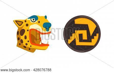 Maya Civilization Symbols Set, Shield And Tiger Head Cartoon Vector Illustration