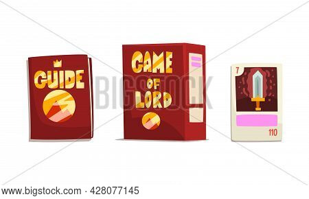 Game Of Lord Game Box, Fantasy Guide Book, Fantasy Magic Board Game User Interface Design Cartoon Ve