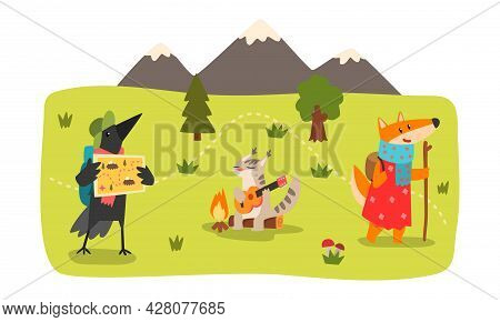 Animals Hiking On Summer Mountain Landscape Set, Fox, Crow, Cat Characters Camping And Hiking Vector