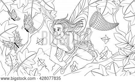Vector Graphics, A Cheerful Young Fairy Boy Fairy With A Butterfly Net After Butterflies, Tries To C
