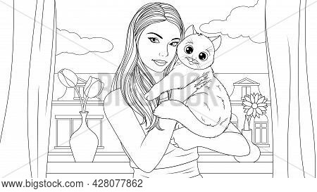 Vector Illustration, A Beautiful Girl Holding A Beloved Cat Pet In Her Arms, Coloring Book