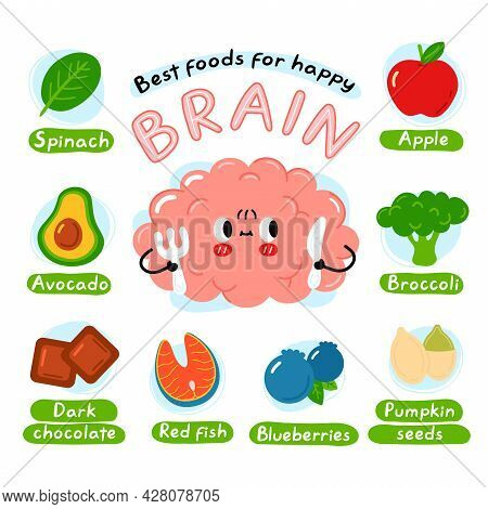 Best Foods For Happy Brain Infographic Poster. Cute Brain Organ Character. Vector Cartoon Kawaii Cha