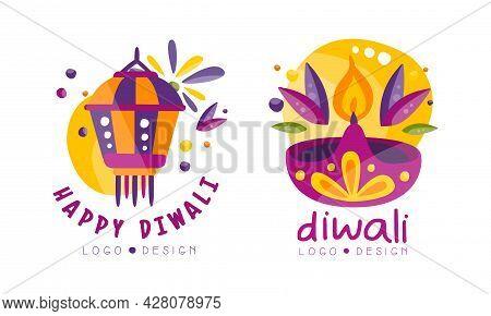Happy Diwali Logo Design Set, Hindu Festival Bright Labels Vector Illustration