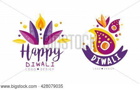 Diwali Logo Design Set, Hindu Festival Bright Colorful Labels Vector Illustration